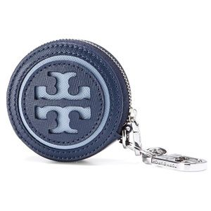 NWT Tory Burch Navy Leather Keychain Pouch